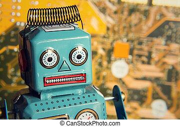 jouet, informatique, vendange, robot, artificiel, derrière, concept, intelligence, planche, étain