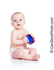 jouet, isolé, musical, bébé, blanc, jouer, girl