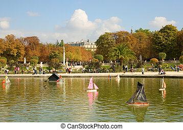 jouet, jardin, paris, luxembourg, france., plan, bateaux, pirate, bateau, premier