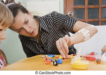 jouet, jeune, créatif, argile, prof, moules