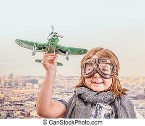 jouet, jouer, aviateur, avion, jeune