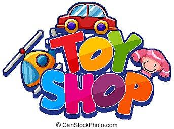 jouet, jouets, police, mot, conception, magasin, beaucoup
