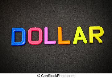 jouet, lettres, coloré, dollar, arrière-plan noir