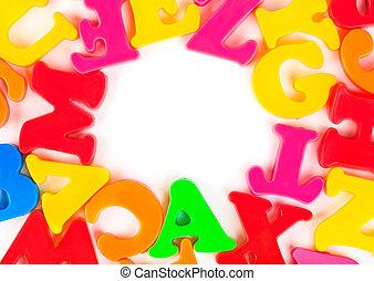 jouet, lettres, multicolore