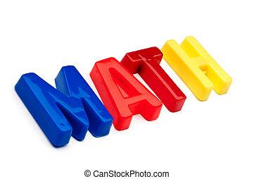 jouet, lettres, spelled, plastique, mot, math, dehors