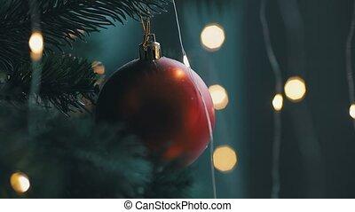 jouet, lumière, haut, pendre, bokeh, fin, rouges, arbre, noël, beau