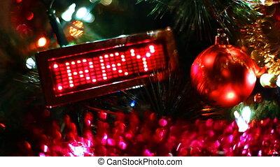 jouet, mené, arbre, derrière, lui, exposer, courant, balle, joyeux, année, nouveau, ligne, noël