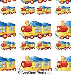 jouet, modèle, seamless, train, carreau, dessin animé