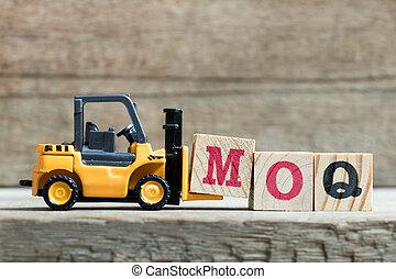 jouet, mot, complet, (abbreviation, moq, élévateur, m, jaune...