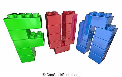 jouet, mot, illustration, lettres, amusement, blocs, jouer, 3d