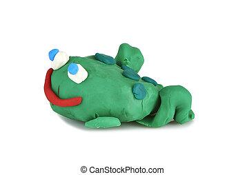 jouet, moulé, -, grenouille, enfants, argile
