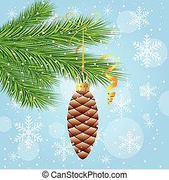 jouet, noël, branche, arbre