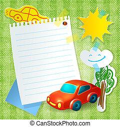 Jouet, papier, gabarit, carte postale, voiture courir. Jouet, vecteur, papier, enfant ...