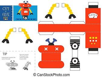jouet, papier, robot, colle, métier, illustration., worksheet, coupure, vecteur, pédagogique, bricolage