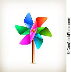 jouet, pinwheel, vecteur, multicolore