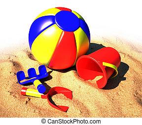 jouet, plage, kit