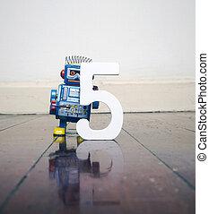 jouet, plancher, woden, nombre, robot, 5