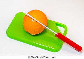 jouet, plastique, coupure, planche découper, moitié, orange, couteau
