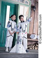 jouet, pointage, fusée, costumes, astronaute, enfants