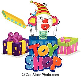 jouet, police, boîte, cric, mot, conception, magasin