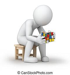 jouet, puzzle, cube