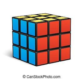 jouet, puzzle, vecteur, illustration, cube