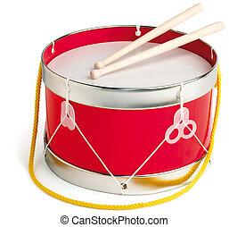 jouet, tambour, isolé, blanc, à, a, attachant voie accès