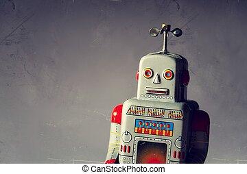 jouet, vendange, isolé, robot, artificiel, bourdon, livraison, étain, concept, intelligence