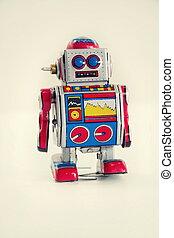 jouet, vendange, robot, isolé, étain, fond, filtré, blanc