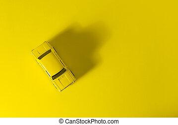 jouet, voiture jaune, arrière-plan.