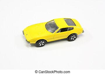 jouet, voiture., jaune
