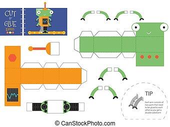 jouet, worksheet., illustration, métier, robot, morceaux, papier, coupure, vecteur, petit, modèle, colle