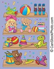 jouets, différent, vecteur, illustration, étagères