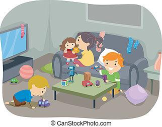 salle d sordre salle jet d tritus illustration vecteur eps rechercher des clip art. Black Bedroom Furniture Sets. Home Design Ideas