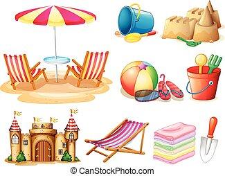 jouets, ensemble, plage, siège