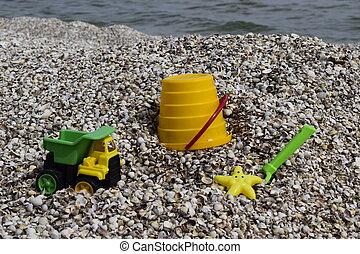 jouets, fond, enfants, plastique, sable, sea.