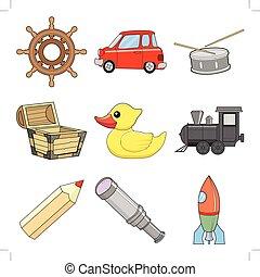 jouets, illustrations, ensemble, enfants, vecteur