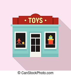 jouets, magasin, plat, rue, icône, style