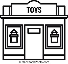 jouets, magasin, rue, contour, icône, style