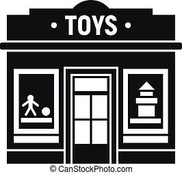 jouets, magasin, rue, icône, style, simple