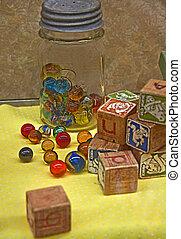 jouets, marbre, bloc, vendange