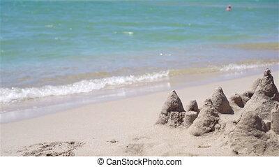 jouets, plastique, sandcastle, gosses, plage blanche, ...