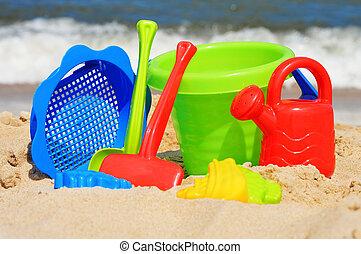 jouets sable, plage, enfants, plastique