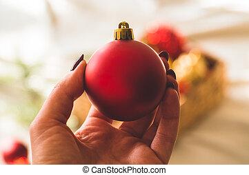jouets, women., mains, hiver, humeur, arbre noël