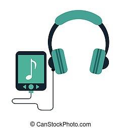 joueur, écouteurs, musique