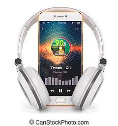 joueur, écran, smartphone, musique, écouteurs