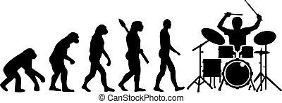 joueur, évolution, battez tambour kit
