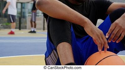 joueur, 4k, tribunal, basket-ball, séance