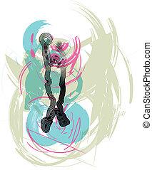 joueur,  action, vecteur, basket-ball