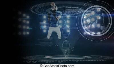 joueur, adn, boule football, attraper, en mouvement, 3d
